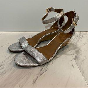 Tory Burch Savannah Silver Metallic Wedge Sandals
